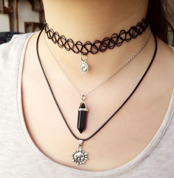 Choker Black Crystal Set