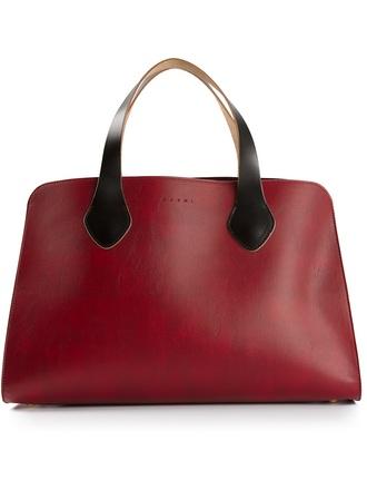 bag marni burgundy bi-colour tote tote bag