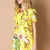 Yellow Short Sleeve Parrot Print Loose Dress - Sheinside.com