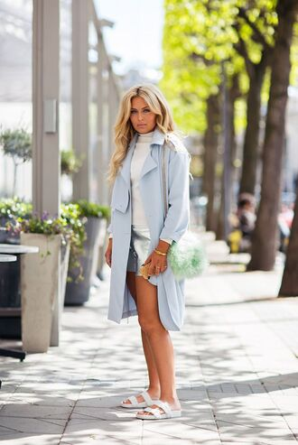 shorts silver shorts top white top coat blue coat duster coat slide shoes birkenstocks white shoes spring outfits fur bag bag green bag fanny lyckman blogger metallic shorts