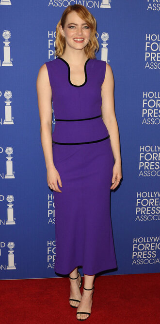 dress purple midi dress sandals emma stone