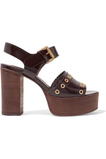 dark embellished sandals platform sandals leather brown shoes