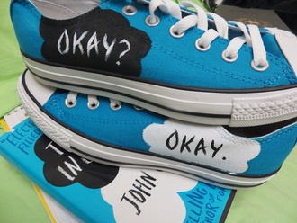 shoes converse high top sneakers light blue the fault in our stars hipster nerd grunge soft grunge