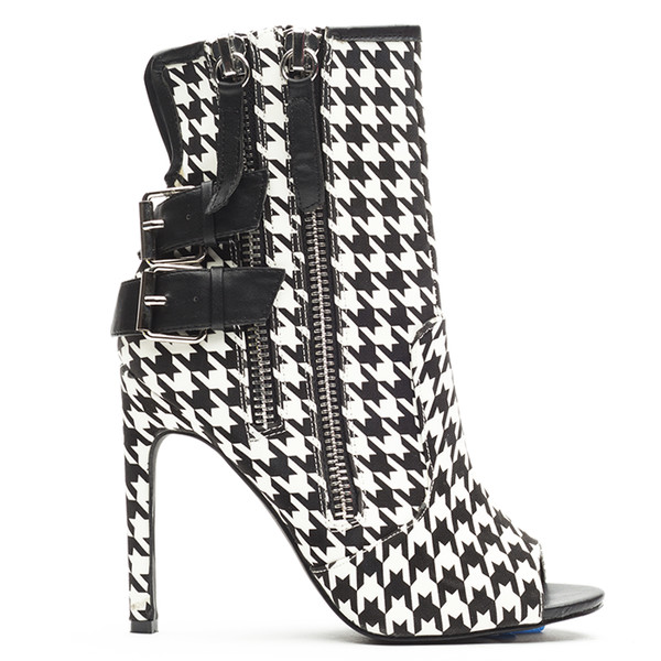 houndstooth houndstooth black and white peep toe boots