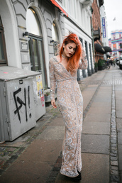 dress,tumblr,maxi dress,long dress,nude dress,long sleeves,long sleeve dress,v neck,v neck dress,hair,red hair,cocktail dress