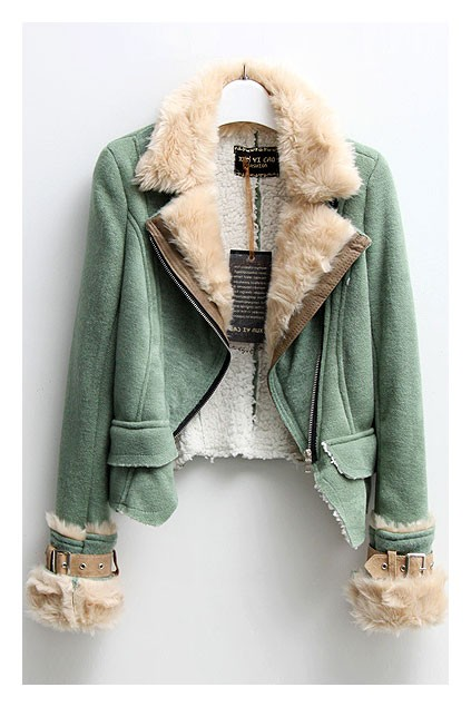 Knit biker jacket with shearling detail