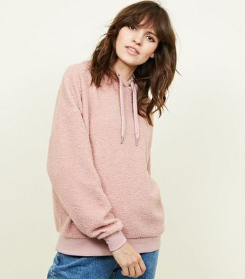 Pale Pink Borg Oversized Hoodie | New Look