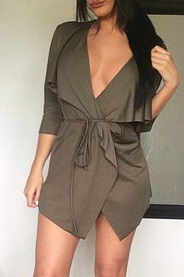 Stylish Women S Lace Up Pure Color Plunging Neck Trench Coat