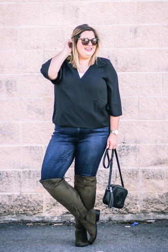 stylishsassy&classy blogger top jeans shoes bag sunglasses fall outfits boots gucci bag plus size green boots