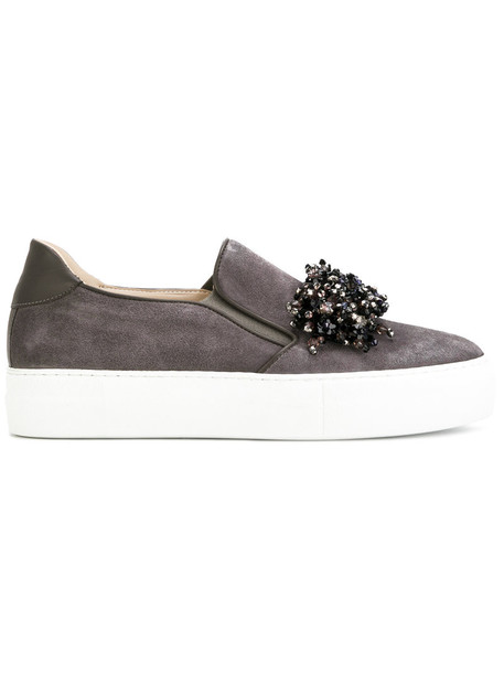Elie Saab women beaded sneakers leather suede grey shoes