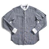 shirt,unisex,menswear,mens shirt,button up,women,striped shirt,stripes,blue and white,blue and white striped,vintage,banded,banded collar,mandarin,mandarin collar,sailor