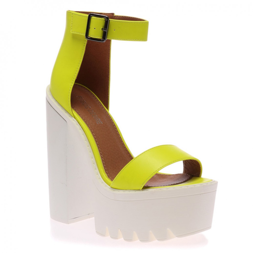 Jessi yellow cleated sole platform shoes