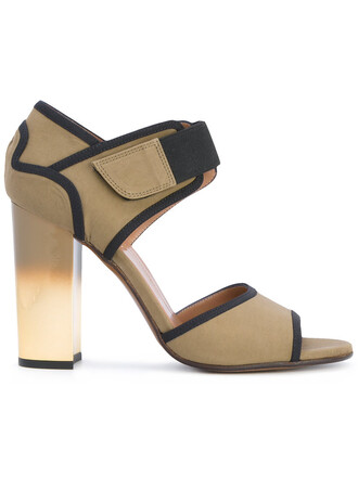 heel women sandals leather cotton green shoes
