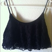top,lace,black,black lace,crop,crop tops,lace crop top,spaghetti strap
