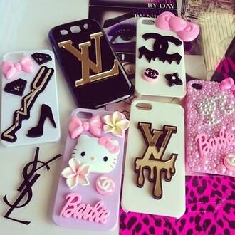 bag louis vuitton iphone 4s iphone 4 case mac cosmetics kawaii barbie phone cover hello kitty yves saint laurent jewels