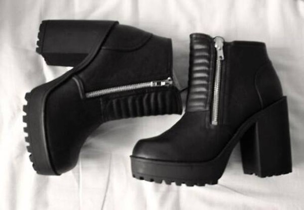 shoes little black boots black high heels