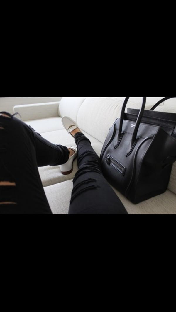 jeans black ripped pants skinny pants bag shoes black jeans