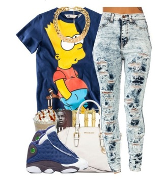 t-shirt bag jeans bart simpson