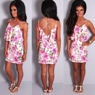 dress pink boutique floral mini dress