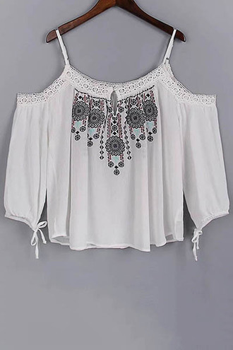 top boho white fashion summer trendy style off the shoulder gypsy