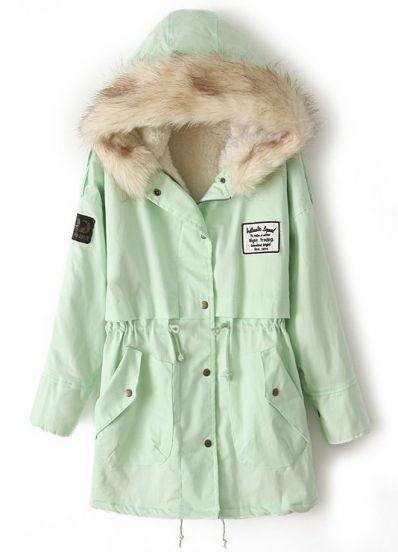 Mint Green Fur Hooded Zipper Embellished Fleece Inside Military Coat - Sheinside.com