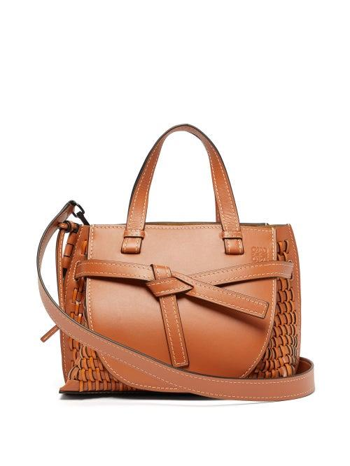 Loewe - Gate Woven Leather Tote Bag - Womens - Tan