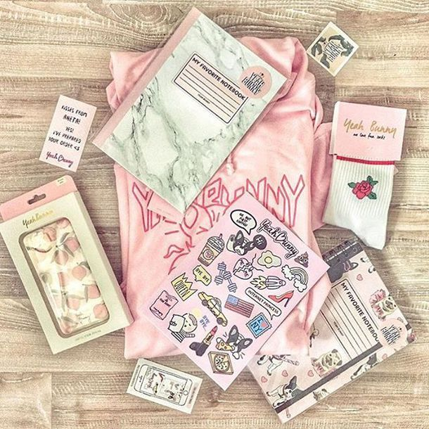 home accessory yeah bunny notebook pastel pink stickers back to school gift ideas socks iphone case