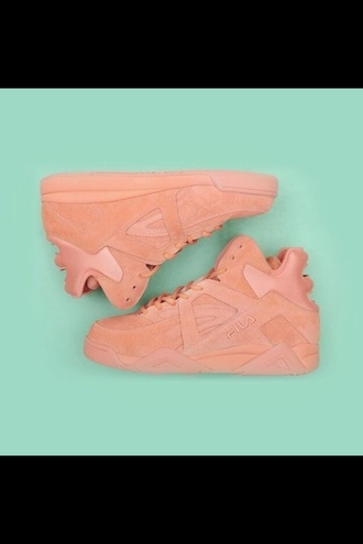 shoes fila sneakers peach high tops fila sneakers nude pink urban pastel pink suede sneakers high top sneakers