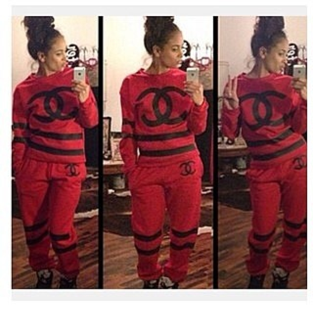 Chanel tracksuit red