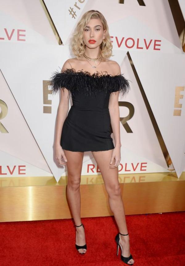 dress mini dress sandals all black everything red carpet dress off the shoulder off the shoulder dress hailey baldwin celebrity feathers