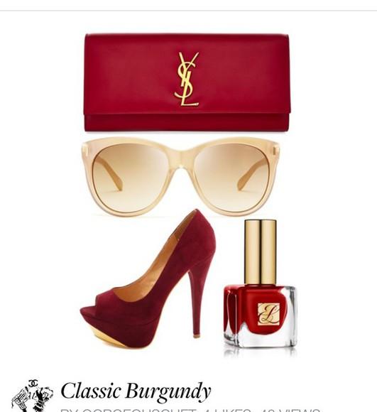 bag ysl polyvore sets maroon/burgundy