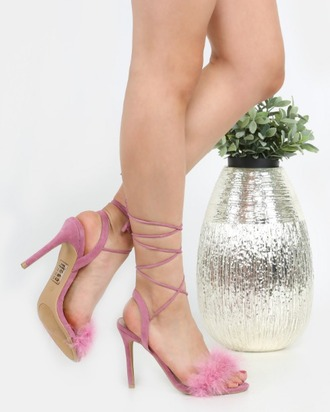 shoes girl girly girly wishlist pink lace up lace up heels high heels heels fur fur heels
