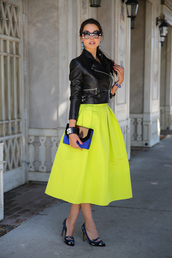 viva luxury,skirt,jacket,sunglasses,jewels,shoes,bag,dress,black jacket,black leather skirt,neon green skirt,green skirt,envelope clutch,nail polish