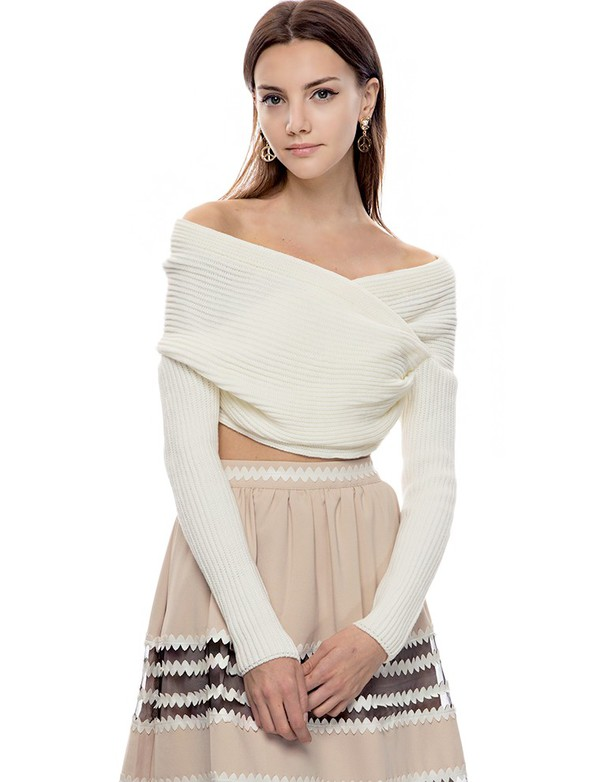 Ivory Off The Shoulder Crop Sweater - Party Knit Top - $62
