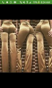 pants,satin pants,gold