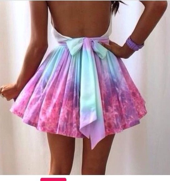 galaxy skirt pastel dress dress cut mini mini dress open back open back dresses galaxy dress halter dress halter neck semi-formal