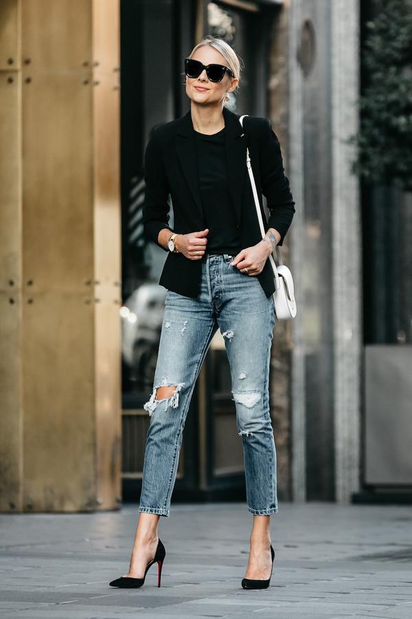 fashionjackson blogger jacket t-shirt bag shoes sunglasses jewels shoulder bag black jacket blazer pumps high heel pumps fall outfits