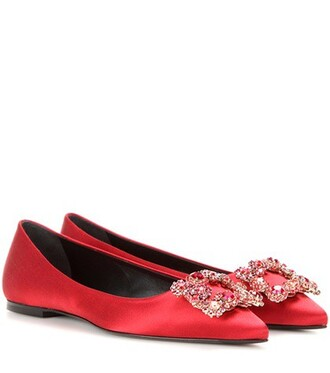 embellished satin red shoes