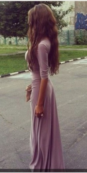long sleeve dress maxi purple lavender mauve cotton rayon maxi dress