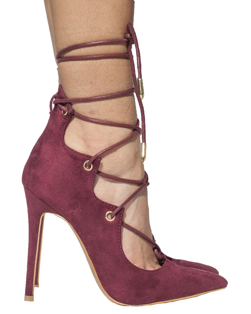 1ad099c92d8 ALAIAH Lace Up Pump in Wine at FLYJANE