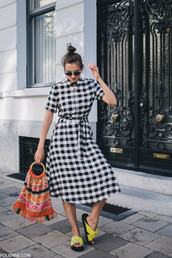dress,tumblr,gingham,gingham dresses,midi dress,shoes,slide shoes,bag,printed bag