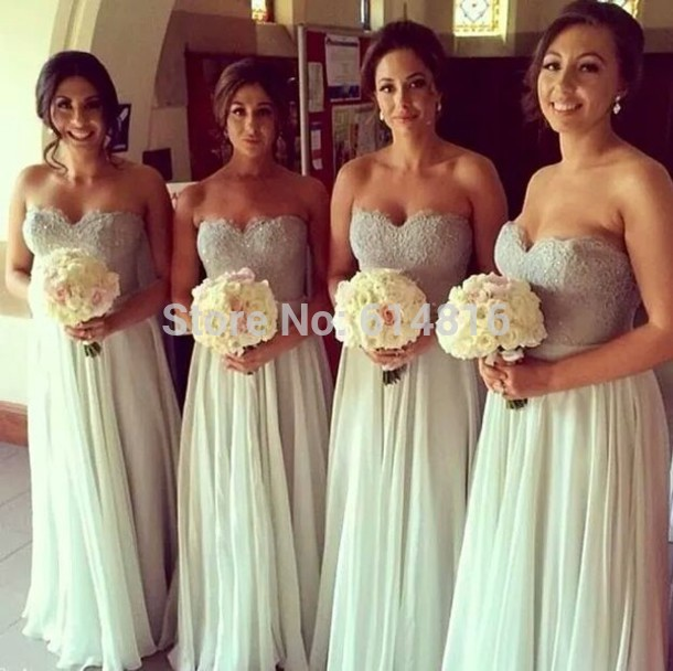 Aliexpress.com : Buy 2014 Sweetheart A line Chiffon Lace Appliques Long Bridesmaid Dresses from Reliable dress quality suppliers on Suzhou Babyonlinedress Co.,Ltd