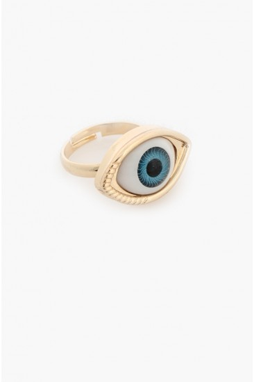 LoveMelrose.com From Harry & Molly | Blue Eye Ball Ring -Gold