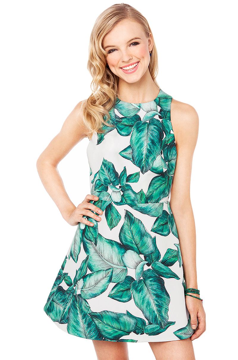 White Sleeveless Green Leaves Print Dress - Sheinside.com