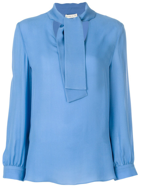 ETRO blouse women blue silk top