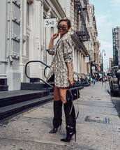 shoes,boots,high heels boots,knee high boots,vinyl,shoulder bag,blazer,snake print,sunglasses