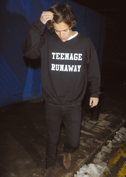 harry styles mens sweater quote on it sweater one direction black harry styles sweater teenage runaway black and white menswear gemma styles hipster fashion