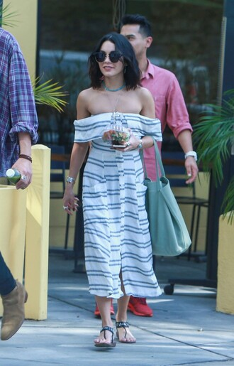 dress striped dress midi dress summer dress summer outfits vanessa hudgens flats sandals off the shoulder