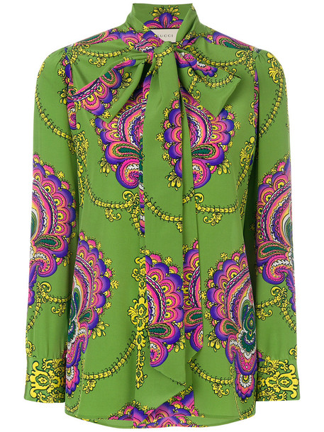 gucci blouse women print silk green top