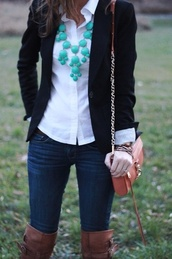 jewels,necklace,bubble necklace,blue,teal,bold necklace,white button up,black,blazer,black blazer,jeans,leather,leather boots,bag,jacket,shoes